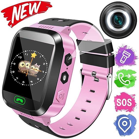 Smartwatch para niños, Smartwatch para niñas y niños, ubicación de LBS, Mensaje de Voz/Texto, SOS, alarmas, Linterna, Juegos de matemáticas, Reloj ...