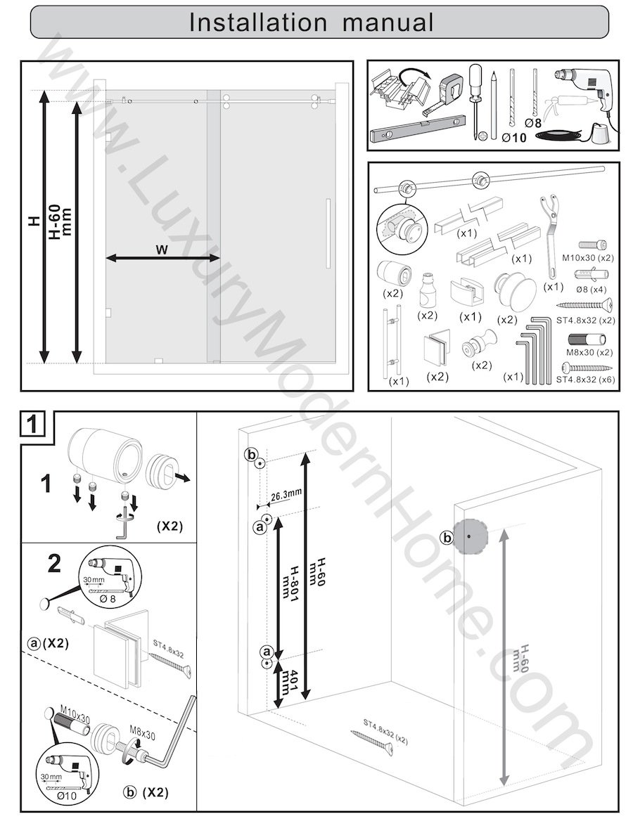 ssh COLOGNE - Modern Frameless Sliding Shower Bathtub Door ...
