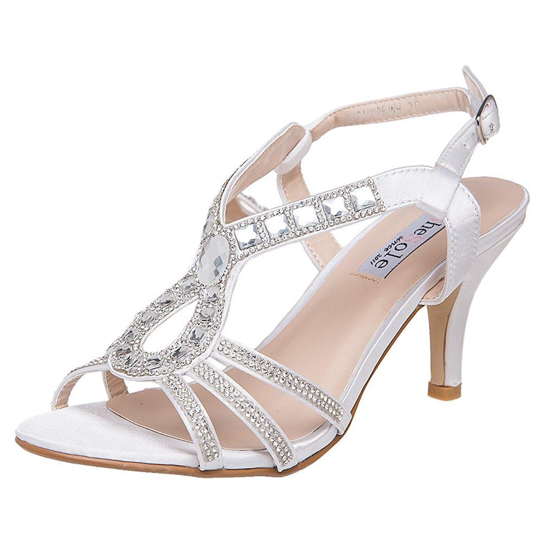 SheSole Women's Rhinestone Low Heels White Wedding Sandals Bridal Shoes US 9.5