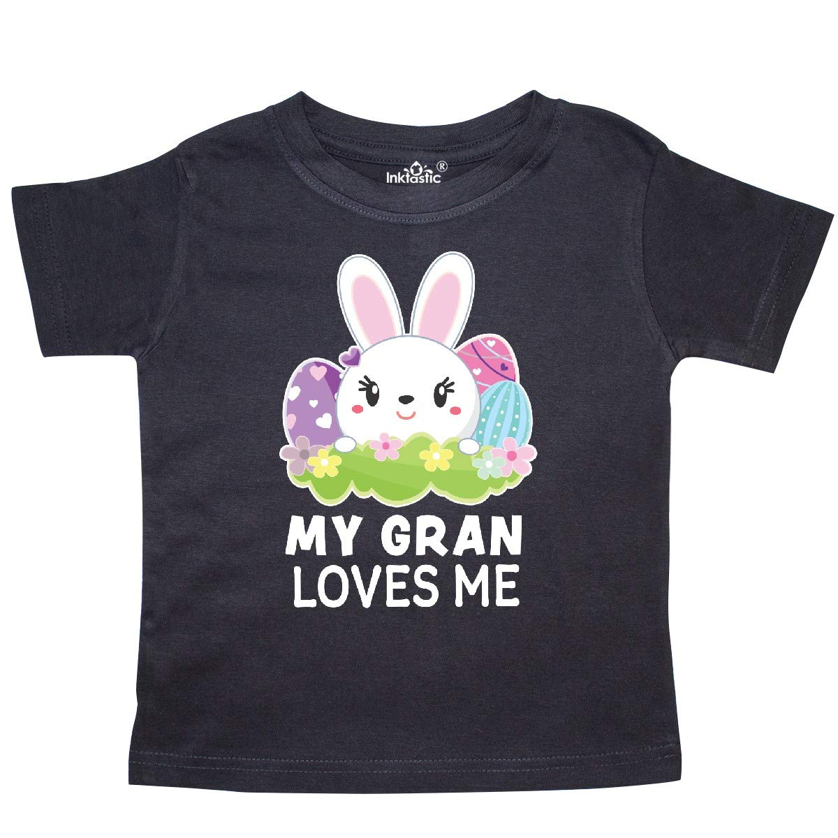 inktastic My Gran Loves Me with Bunny and Easter Eggs Toddler T-Shirt