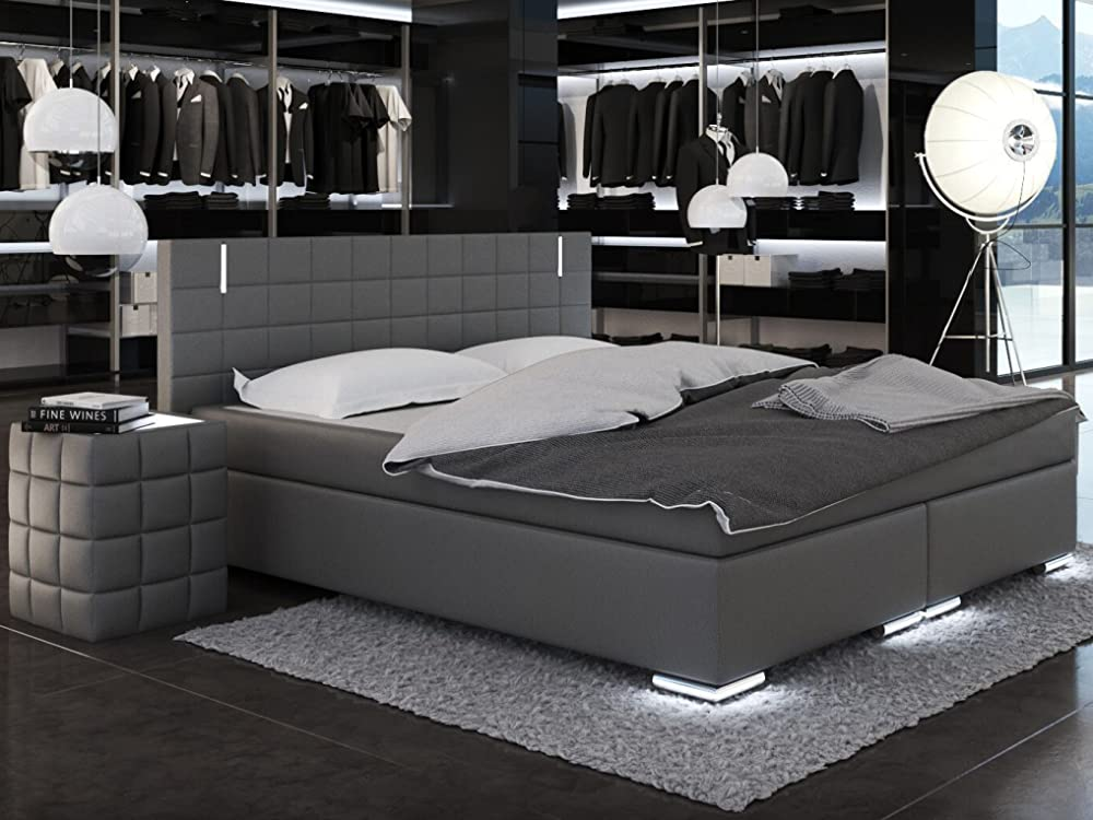 sam led boxspringbett 200x200 cm berlin kunstleder grau. Black Bedroom Furniture Sets. Home Design Ideas