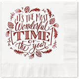 Most Wonderful Time of the Year Beverage Cocktail Napkins - Set of 25 white paper holiday napkins with red foil