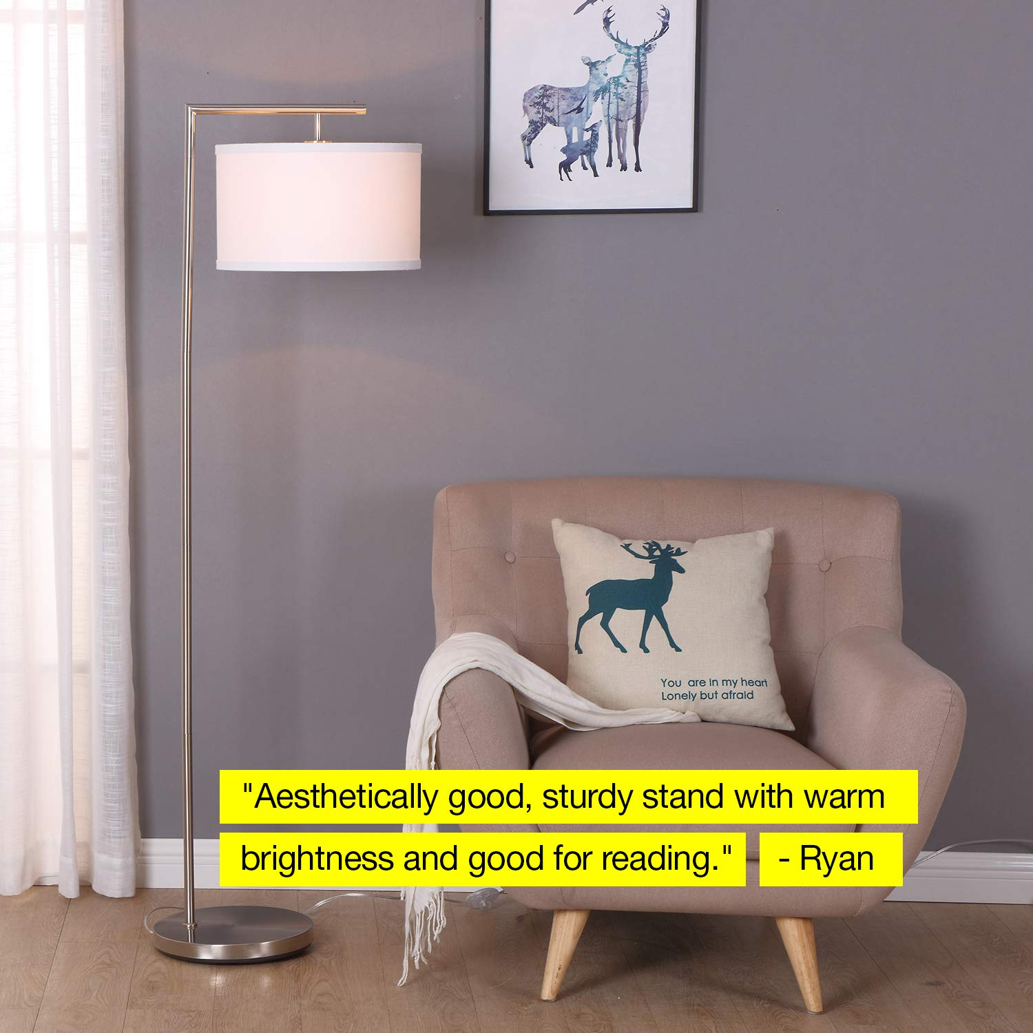 Brightech Montage Modern - LED Floor Lamp for Living Room- Standing Accent Light for Bedrooms, Office - Tall Pole Lamp with Hanging Drum Shade - Satin Nickel by Brightech (Image #7)