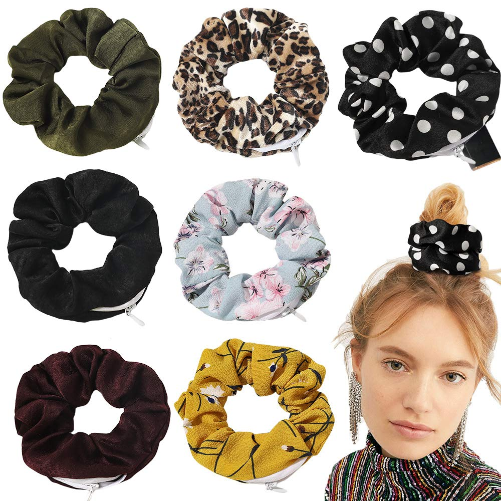 Details about  /Premium Velvet Scrunchie with Zipper Pocket for Women and Girls sd Lssed