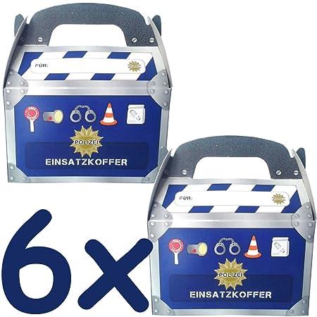 6 Geschenkboxen * POLIZEI * für Kinderparty und Kindergeburtstag von DH-Konzept // Mitgebsel Geschenk Treat Box Partybox Papp