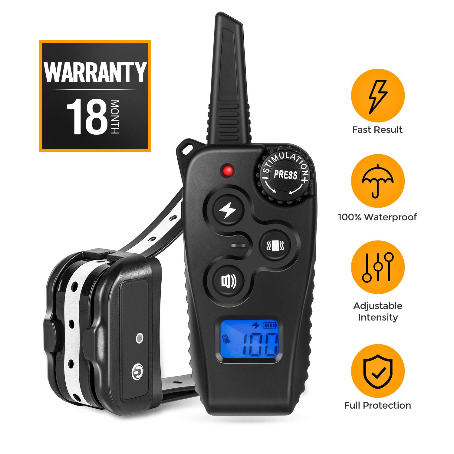 2019 Newest Dog Training Collar, Remote Shock Collar with Beep Vibration Shock 1-100 Adjustable Levels 1640FT Remote Range, Rechargeable 100% Waterproof Dog Shock Collar for Small Medium Large Dogs