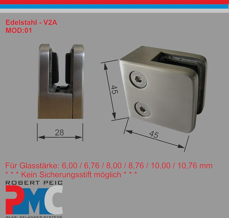 6.00 mm 1 Pmc Acero Inoxidable inox V2/A Pinza de conector plana /óptica Cristal Glass Clamp inox 90//° esquina plata