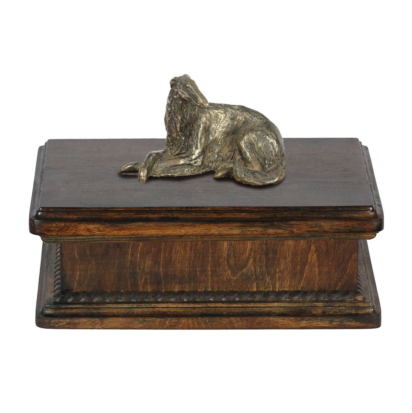 Borzoi (lying), memorial, urn for dog's ashes, with dog statue, exclusive, ArtDog