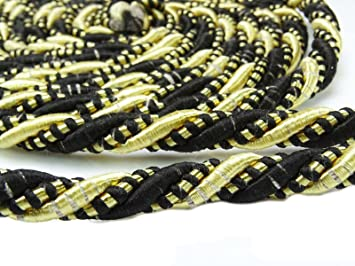 Amazon Com Upholstery Trim Braided Lip Cord Black Gold Satin