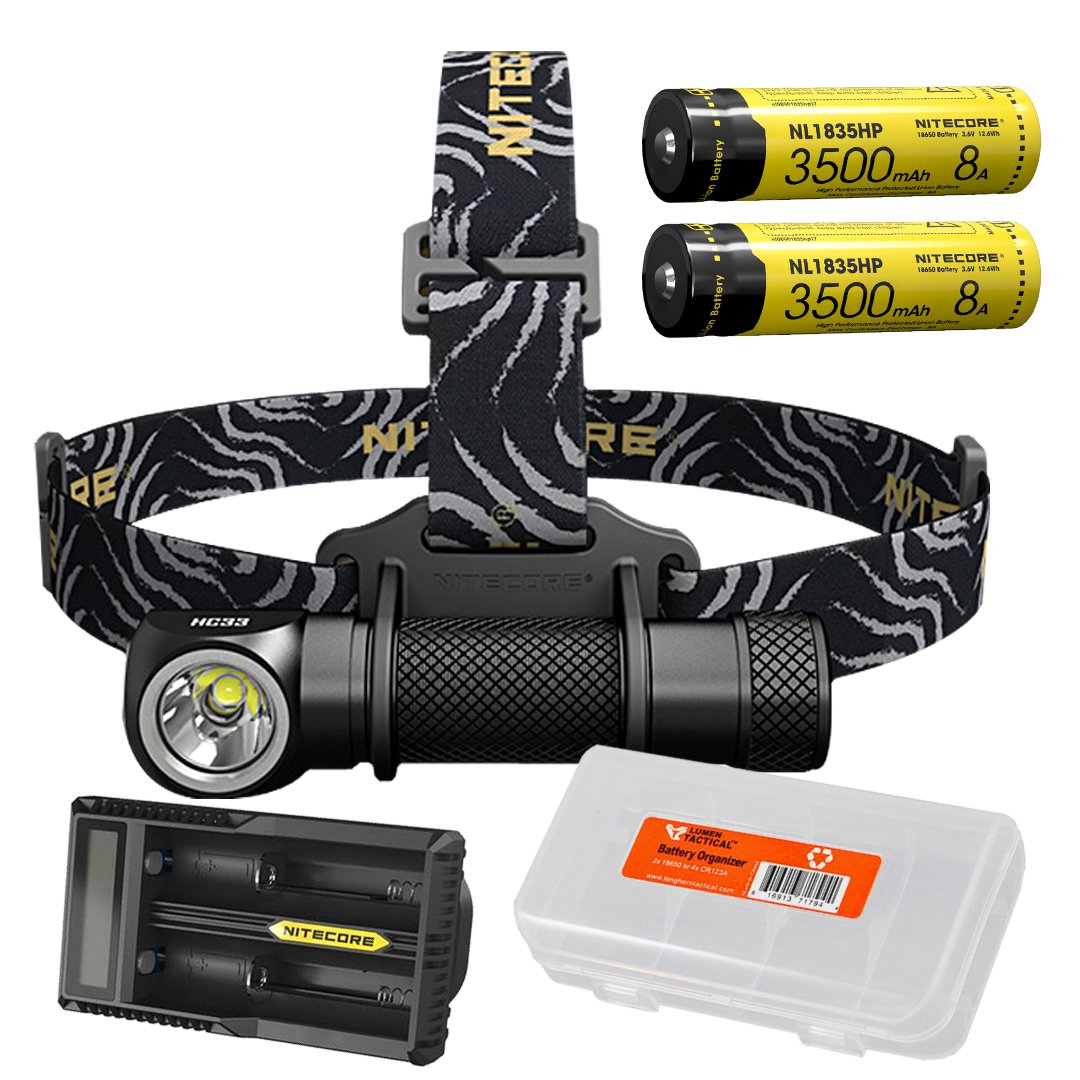 Premium Bundle: NITECORE HC33 1800 Lumen High Performance Versatile L-Shaped LED Headlamp with 2x 3500mAh 8A Rechargeable Battery, UM20 Battery Charger and Lumen Tactical Battery Organizer by Nitecore
