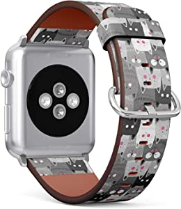 Compatible with Apple Watch 42mm & 44mm (Series 5, 4, 3, 2, 1) Leather Watch Wrist Band Strap Bracelet with Stainless Steel Clasp and Adapters (Cute Cats)