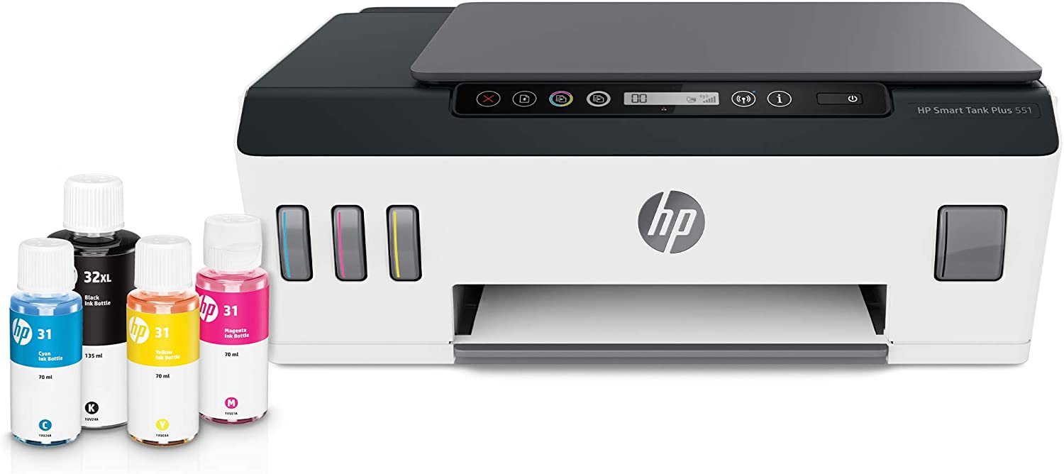HP Smart-Tank Plus 551 Wireless All-in-One Ink-Tank Printer | up to 2 Years of Ink in Bottles | Mobile Remote Print, Scan, Copy (6HF11A)