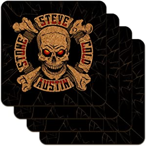 WWE Stone Cold Steve Austin Broken Glass Logo Low Profile Novelty Cork Coaster Set