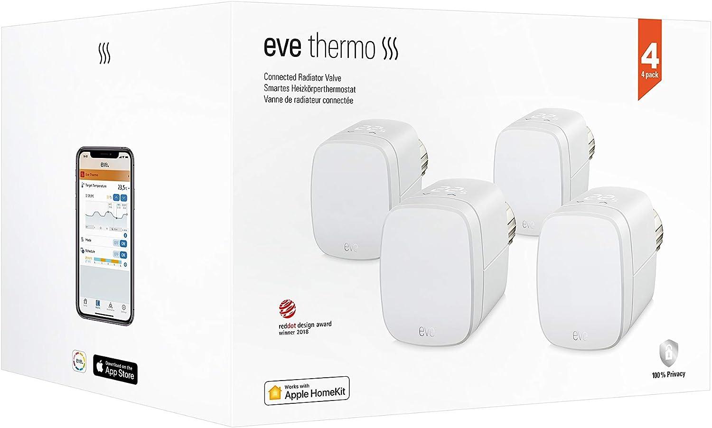 Eve Thermo, Lot de 4 - Vanne de radiateur intelligente avec afficheur...