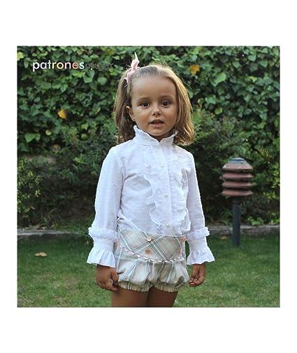 Patrón de costura conjunto de blusa con chorrera y bombacho niña, con vídeo-tutorial