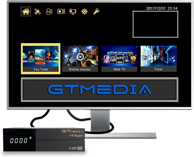GT MEDIA V9 Super DVB-S2 Decodificador Satélite Receptor de TV Digital H.265 HD 1080P FTA Soporte CC CAM New CAM Youtube PVR Ready PowerVu Clave Biss, Wi-fi Incorporado: Amazon.es: Electrónica