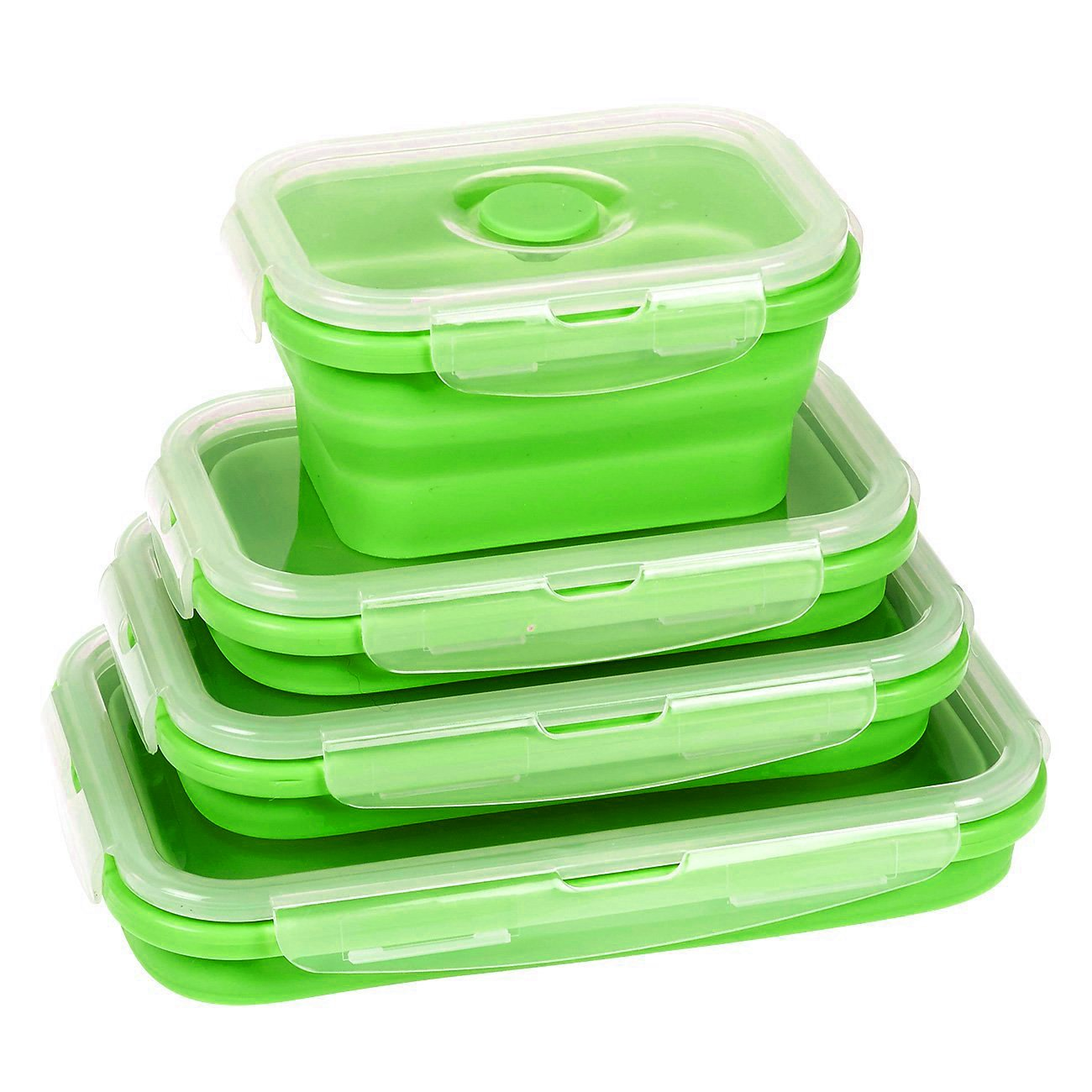 Wolecok 4 Pack (350ML, 500ML, 800ML, 1200ML) Silicone Collapsible Lunch Box, Microwave, Dishwasher and Freezer to Oven Safe (Green)