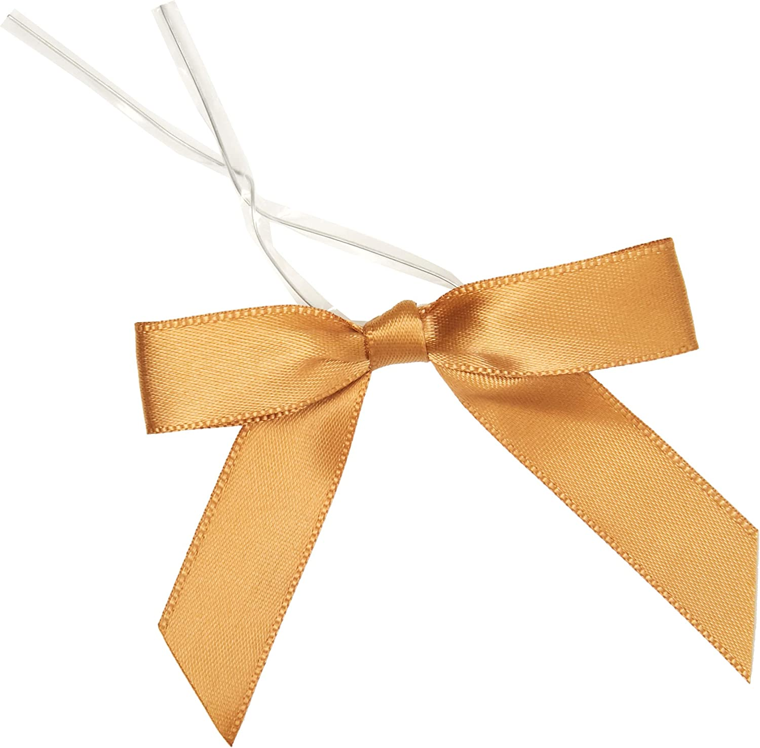 Juvale 100-Piece Gold Satin Twist Tie Ribbon Bow, 2.5 x 3 Inches