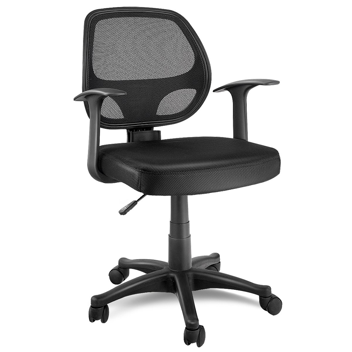 Giantex Mid-Back Task Office Chair Mesh Chair Adjustable Seat Height Ergonomic Swivel Computer Desk Chair Executive Office Chair, Black