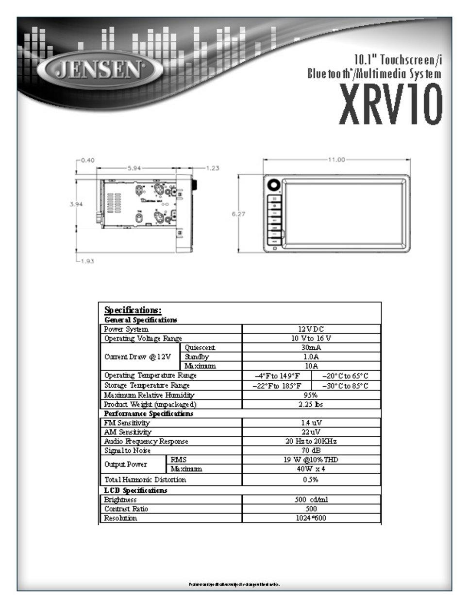 amazon com jensen xrv10 double din 10 1 touchscreen bluetooth rh amazon com