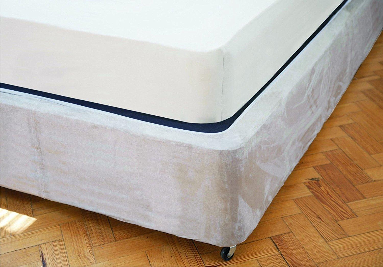 Divan Bed Base Wrap Valance Sheet (Single Size, Linen) Transforms a drab looking bed base - Luxury Faux Suede Belledorm