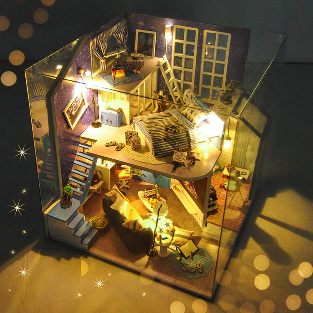 Flever Dollhouse Miniature DIY House Kit Creative Room with Furniture for Romantic Artwork Gift-Star Field