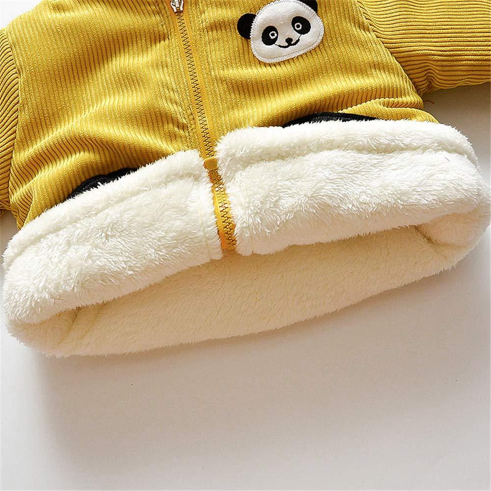 Jchen(TM) Infant Kids Little Girls Boys Cartoon Panda Winter Warm Jacket Hooded Zipper Outerwear Coat for 1-3 Y (Age: 12-18 Months, Yellow) by Jchen Baby Coat (Image #5)