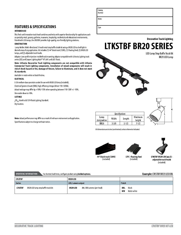 Lithonia Lighting LTKSTBF BR20 MW M4 Adjustable Decorative LED Lamp, 500 Lumens/Head, 120 Volts, 8 Watts, Dry Listed, White by Lithonia Lighting (Image #4)