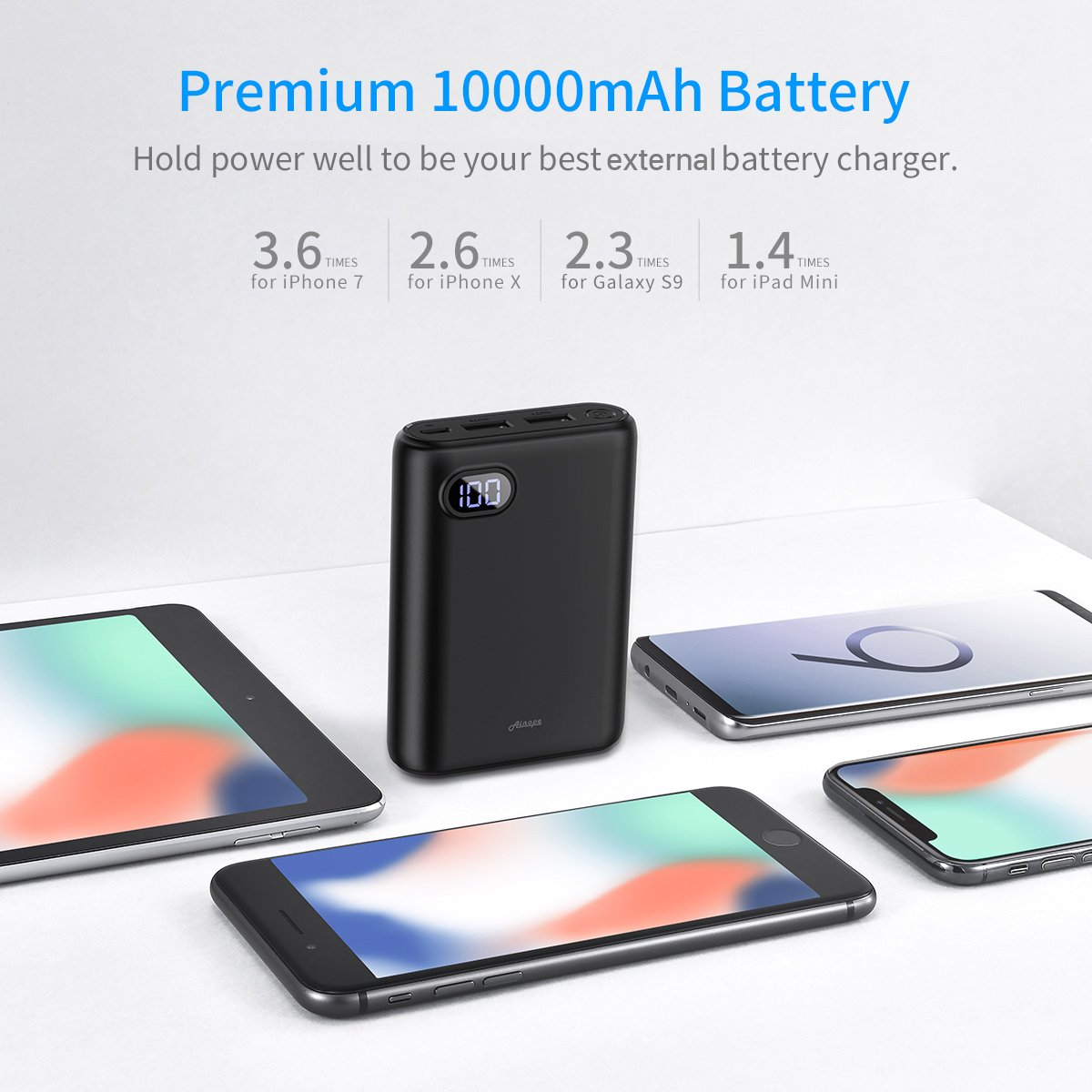 10000mAh Portable Charger,(Smallest) (LCD Display) (Powerful) Ainope External Battery Pack/Battery Charger/Phone Backup Power Bank with Dual USB Output(3.1A),Perfect Carry for Travel-Black by Ainope (Image #4)
