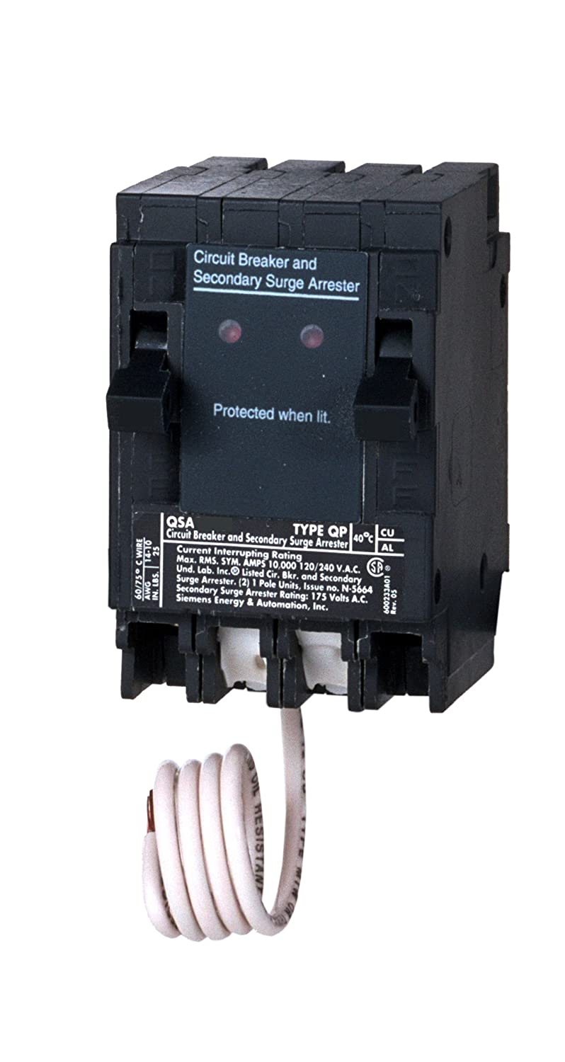 Siemens Qsa2020spd Whole House Surge Protection With Two 20 Amp 220 Breaker Fuse Box Circuit Breakers For Use Only On Panels Main