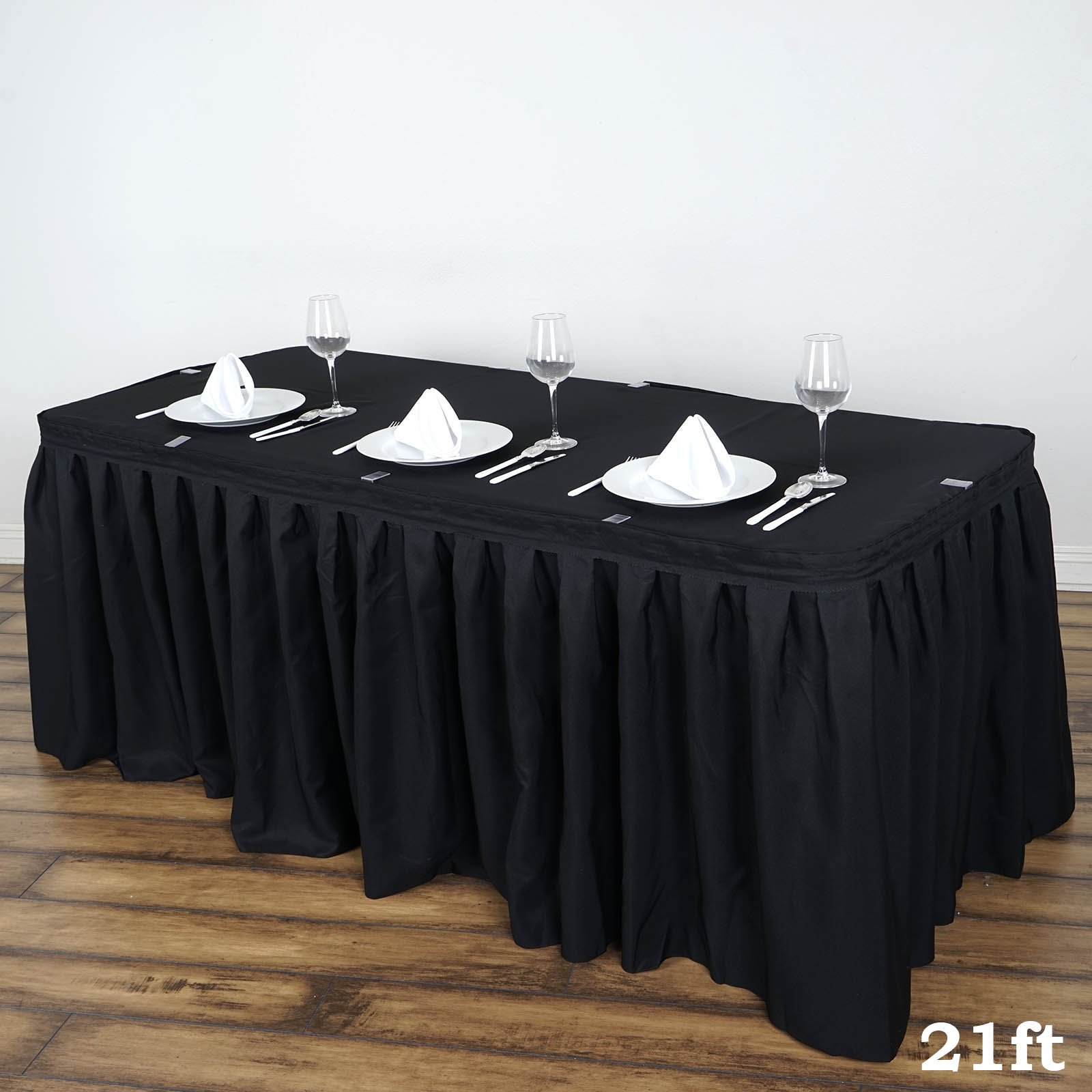 BalsaCircle 21 feet x 29-Inch Black Polyester Banquet Table Skirt Linens Wedding Party Events Decorations Kitchen Dining Catering