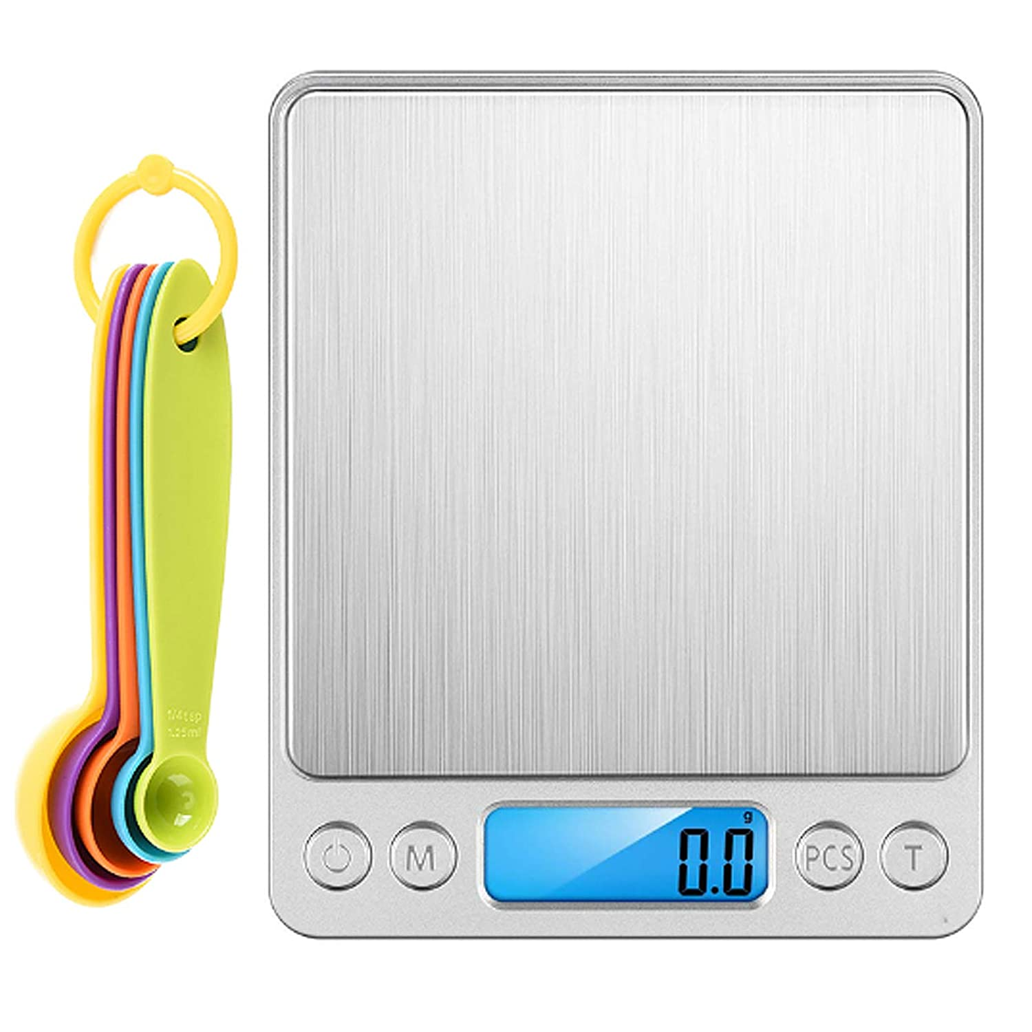 01 Gram Scale, Kitchen Scale Mini Pocket Food Scale Digital Weight Food Scale for Baking and Cooking, 6.6Lb/3kg 0.1g Accuracy with 5 Measuring Spoons, 2 Trays and Back-Lit LCD Display