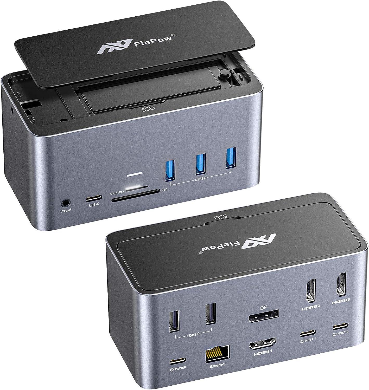Thunderbolt 3 Dock,18in1 Quadruple Display USB C Docking Station Laptop Docking Station USB C Hub for Windows/MacBook Pro/Air with 3HDMI DP SSD Enclosure 100WPD RJ45 SD/TF Card Reader Audio&Mic 5USB
