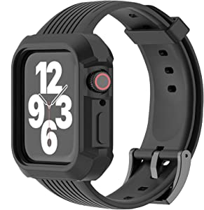 JIEBAO Compatible with Apple Watch Bands Women/Men 38mm 40mm 42mm 44mm, Compatible for Iwatch Band with Case Series 6/5/4/3/2/1/SE Sport Loop, Rugged Protective Case and Band (Black-42mm/44mm)