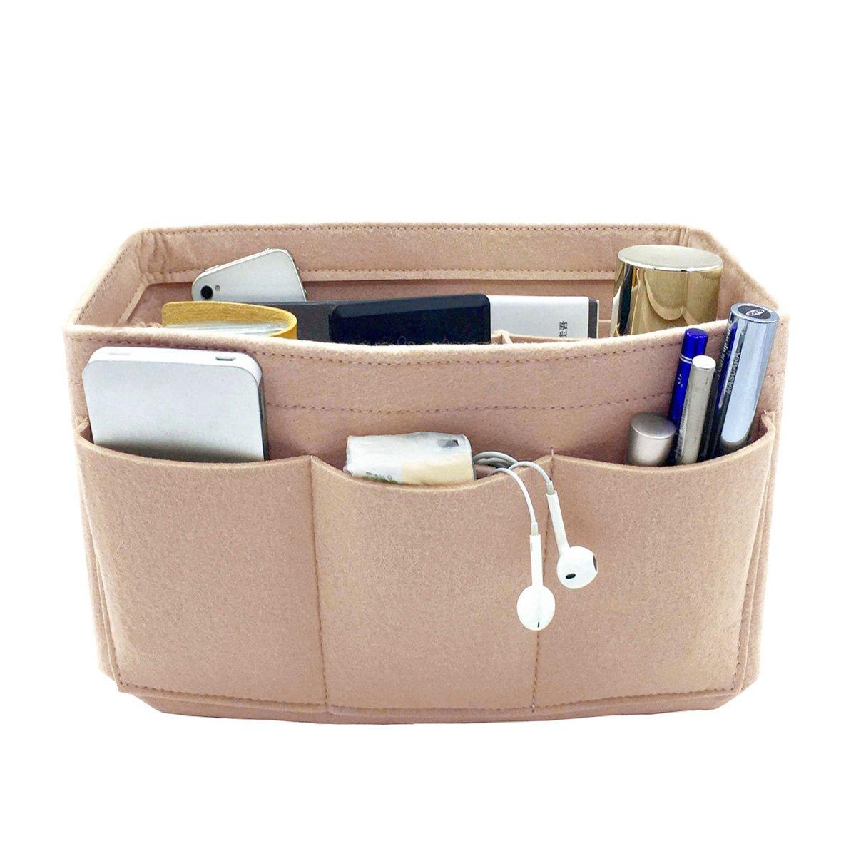 VANCORE 12 Pockets Felt Purses and Handbag Organizer Insert Cosmetic Bag Perfect Gift for Women Nude M