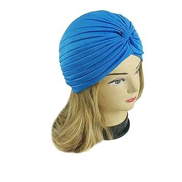 df163fa477a Amazon.com   TURQUOISE Women Stretchy Turban Head Wrap Band Chemo Bandana  Hijab Pleated Indian Cap Hat  JJTH   Beauty