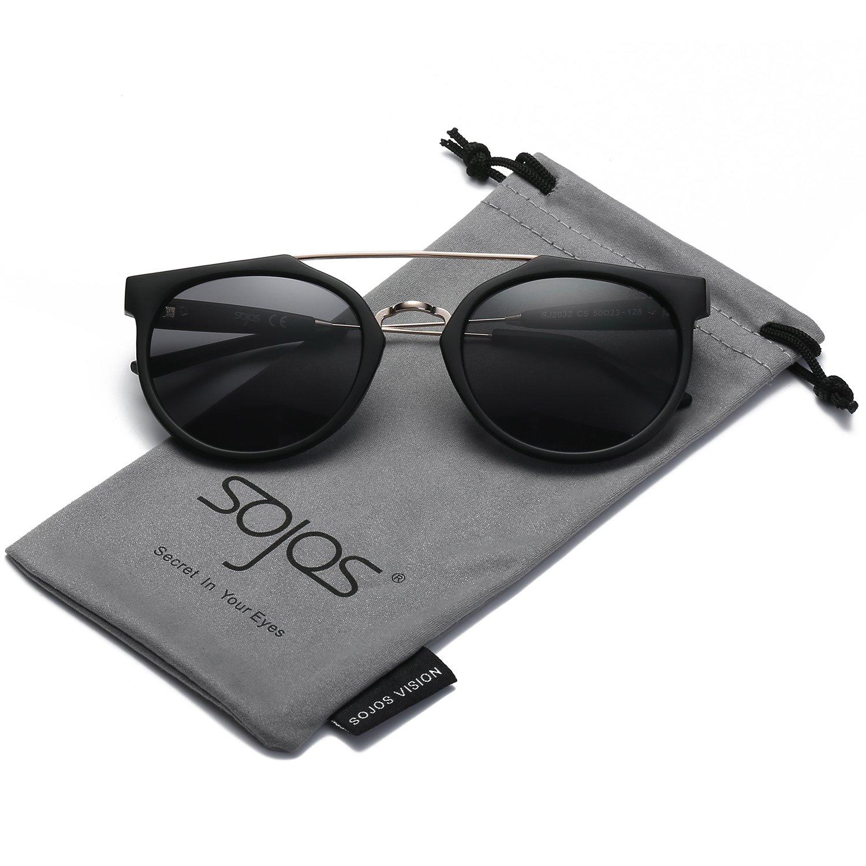 bf23821ed4 Amazon.com  SojoS Modern Double Metal Bridge Crossbar Round Unisex  Sunglasses SJ2032 With Matte Black Frame Grey Lens  Clothing