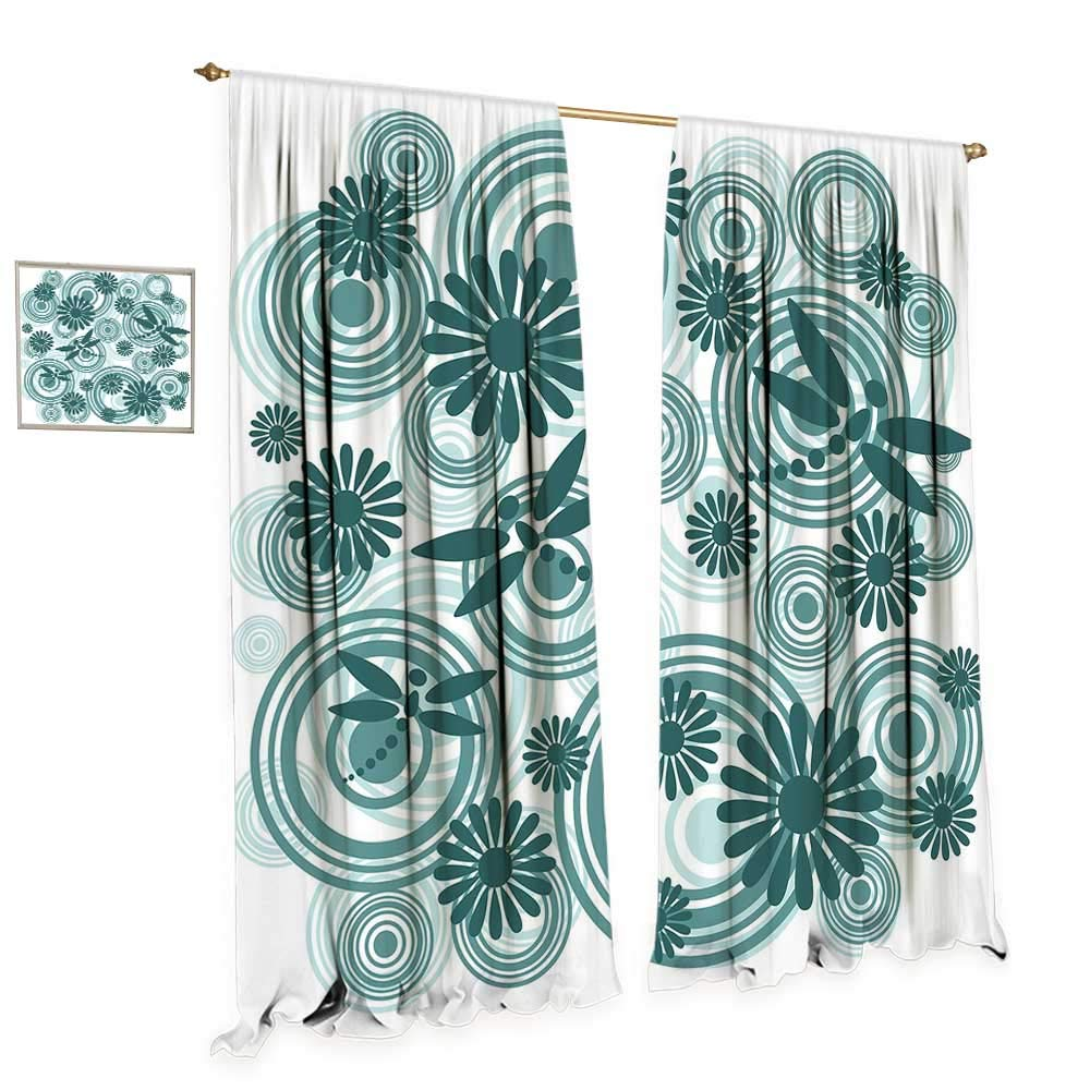 Dragonfly Room Darkening Wide Curtains Abstract Circular Spiral Flowers Chamomile Daisy Figures Modern Print Decor Curtains by W108 x L108 Petrol Blue White