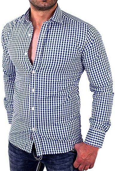 Camisas De Manga Larga A para Hombres Camisa Cuadros Simple ...