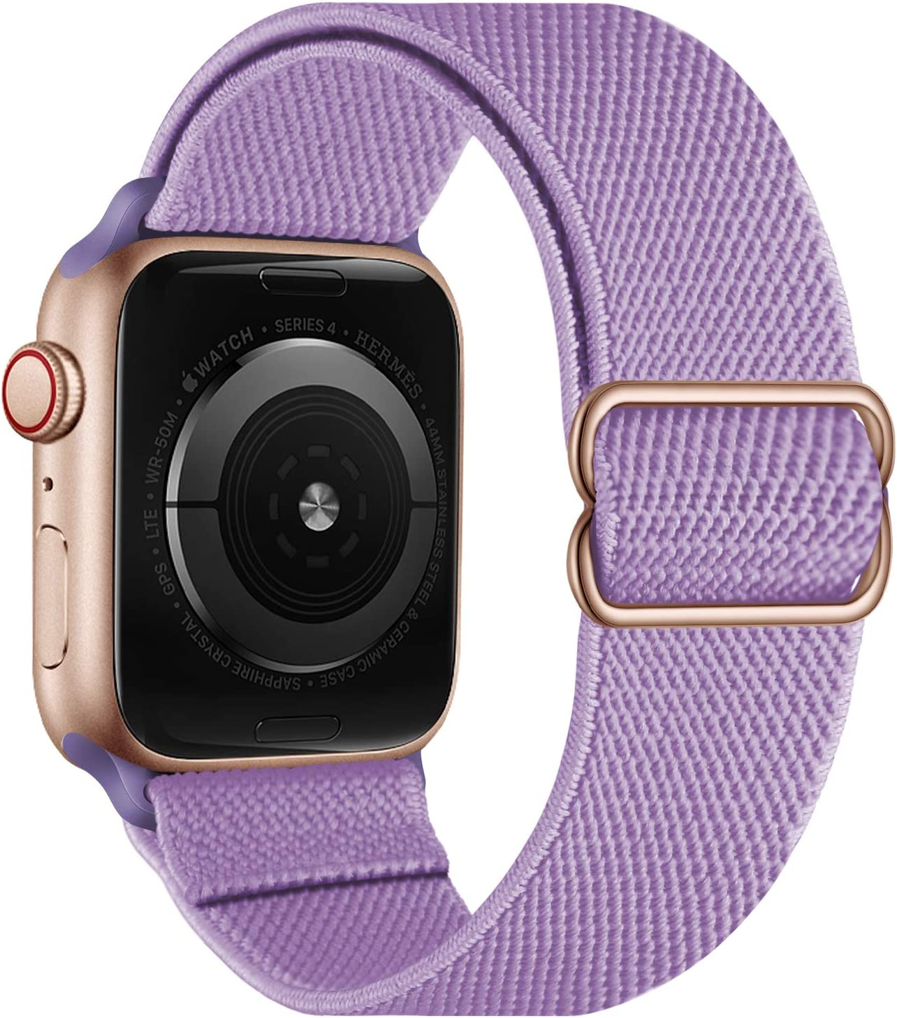 OXWALLEN Stretchy Nylon Solo Loop Compatible with Apple Watch Bands 38mm 40mm, Adjustable Elastic Braided Stretches Women Men Strap for iWatch SE Series 6/5/4/3/2/1,Light Purple