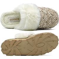 COFACE Zapatillas De casa para Mujer Invierno Pantuflas de Forro de Felpa Cálidas de Punto de Lana Zapatos de Espuma…