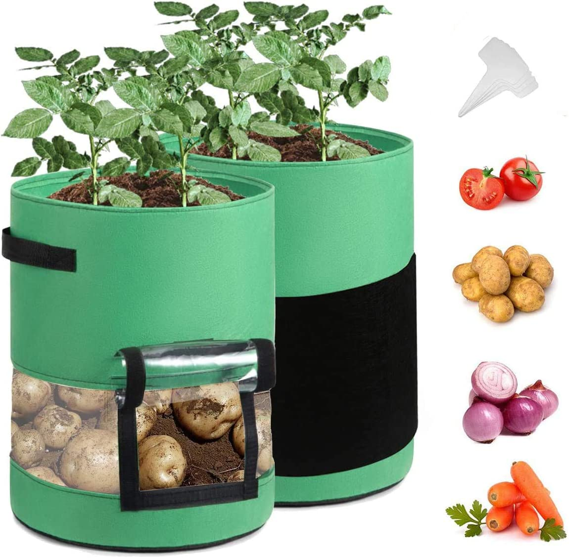 Potato Grow Bags ,Garden Vegetable Planter with Handles&Harvest Flap for Vegetables, Tomatoes, Carrots, Onions