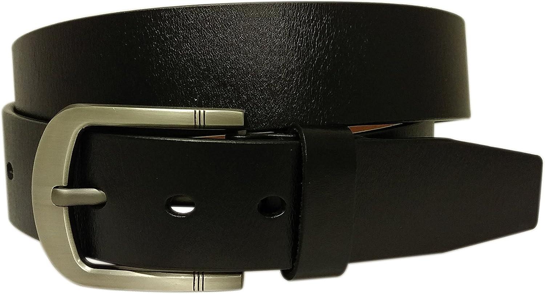 Mens Casual Jean Black Belt Genuine Leather Signature Buckle PB001