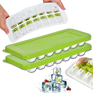 Ice Cube Trays with Lid, 2 Pack Flexible Easy-Release Silicone and Plastic 14-Ice Food Grade Duarble Trays Mold with Removable covers, BPA Free, Reusable ice cube Maker(2 Green)