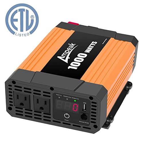Ampeak 1000W Power Inverter Truck RV Inverter 12V DC to 110V AC Converter with Dual AC Outlets 2.1A USB Modified Sine Wave Inverter