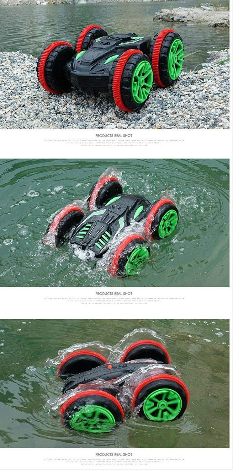 Rabing RC Car 2.4 Ghz 4WD Stunt Car 6CH Remote Control Amphibious Off Road Electric Race Double Sided Car Tank Vehicle 360/Ð/'/Â/° Spins /& Flips Land /& Water