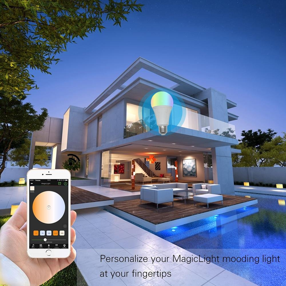 Teepao Wifi Bulb Dimmable, Multicolor Voice Controlled Light Smart Led Bulb Including 16 Million Color Light Work with Amazon Echoã€Echo Dotã€Amazon Tap(50w Equivalent,18 Led Light Beads) by Teepao (Image #6)