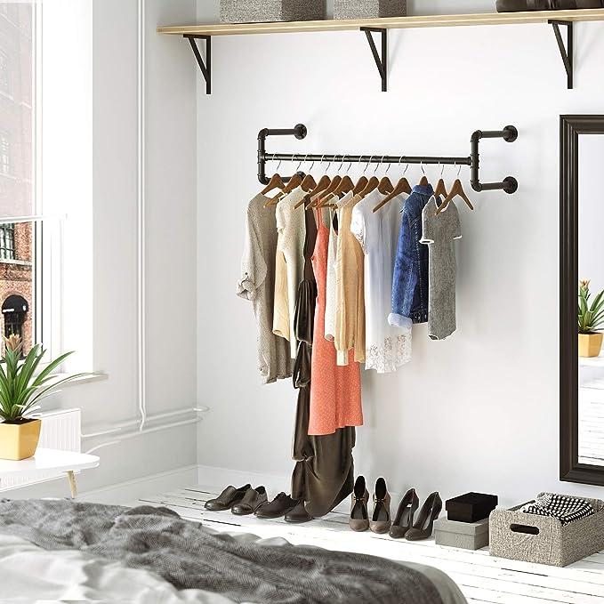 Amazon.com: SONGMICS Perchero de pared para colgar ropa ...