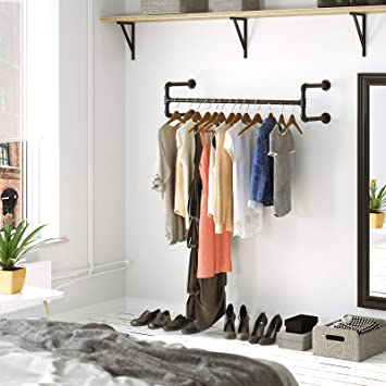 Amazon.com: SONGMICS Perchero de pared para colgar ropa ...