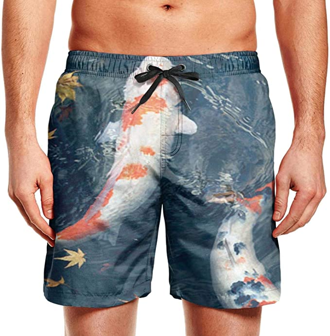 Mens Swim Trunks Rainbow Whale Quick Dry Beach Board Shorts with Mesh Lining